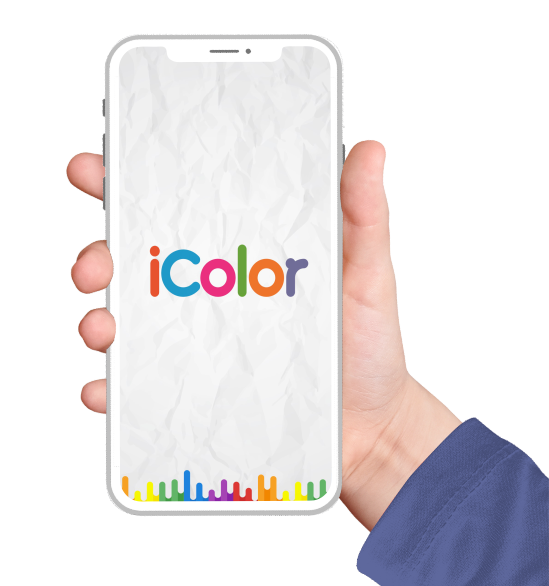 iColor coloring apps screen displayed on iphone screen held by a hand wearing a blue sweater for mafooly mobile