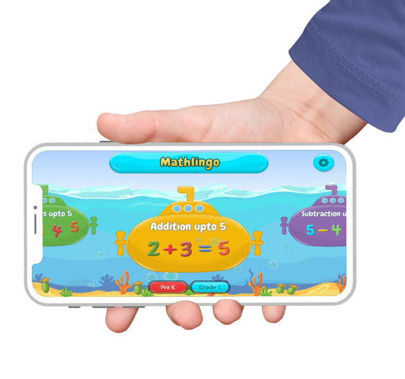 educational apps banner featuring mathlingo game equation on iphone screen held by a hand wearing a blue sweater