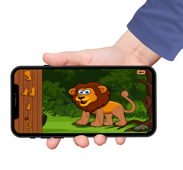animal jungle games puzzles on an iphone screen held by a hand with a blue sleeve
