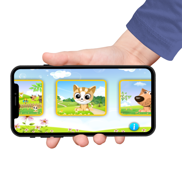 Cute domestic animal puzzles featured on a black iphone screen held by a hand with blue sleeves