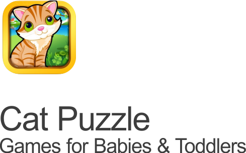 cat puzzle games for babies and toddlers icon set on transparent background