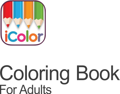 icolor coloring book for adults icon on transparent background