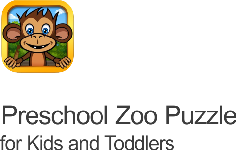 Preschool zoo puzzles icon featuring the zoolingo monkey set ona transparent background