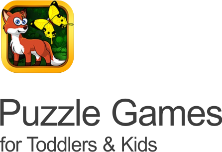 puzzle games for kids icon with a cartoon fox and yellow butterfly on a transparent background