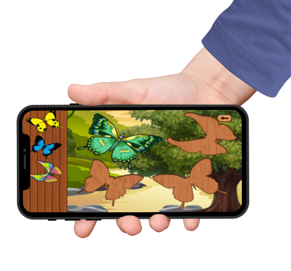 butterfly learning games puzzles for babies features on an iphone screen held by a hand with blue sleeves
