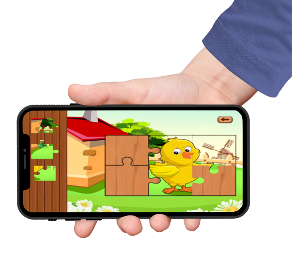 farm animal cute baby games with a cute duckie puzzle on iphone screen held by a hand with blue sleeves