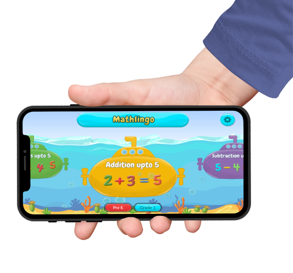 mathlingo games for kids in an iphone screen held by a hand with blue sleeves