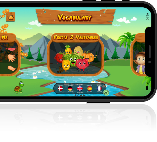 vocabulary game featuring fruits and vegetables on phone screen