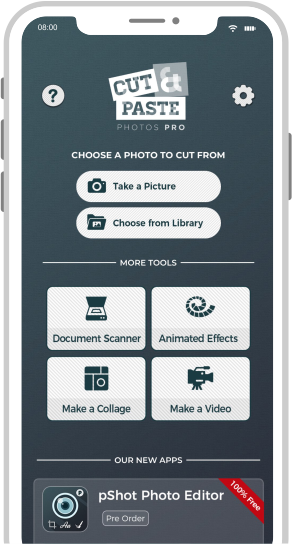 cut and paste photos pro app icon on white iphone screen