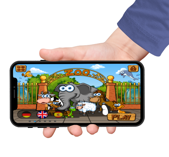 preschool zoo puzzles homescreen featured on an iphone screen held by a hand with blue sleeves